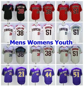 Vintage coole Basis 38 Curt Schilling Jersey Ruhestand Baseball 44 Paul Goldschmidt 51 Randy Johnson 21 Zack Greinke Männer genäht