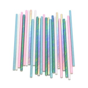 25Pcs Glitter Solid Color Paper Straws Baby Shower Environmental Straws Wedding Birthday Party Kid Drinking Straw