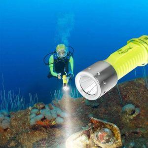 IP68 водонепроницаемый T6 L2 LED дайвинг фонарика аккумуляторная 18650 Powered Diving Diving Diving подводная лампа акваланги