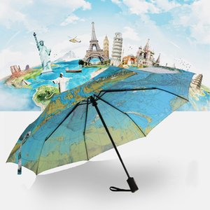 Creative Full Automatic Three-fold Blue Map Umbrella Rain Woman Personality Folding Ultra-light Sun Travel Man Anti-UV Umbrella GWD5075