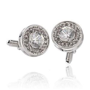 Men's Round Cufflinks Wedding Jewelry Fashion Personality Classic Retro Luxury Rhinestone Silver