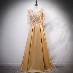 Gold Sequined Chinese tradizionale Qipao Bride Cheongsam Dress Vestidos Temperament Abiti da sposa Party Banquet Abiti per banchetti F8BP