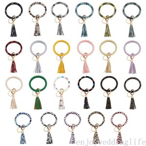 PU Leather Bracelet Tassel Pendant Key Chain Wrist Ring Key Chain Bracelet Keychains Wedding Party Decor Favors Fast Shipping