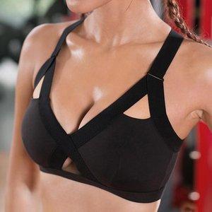 Women Breathing Ladies'workout Bra Fitness Plain Colour Front Cross Side Ee Sports Underwear Full Cup Beha Vest Tops