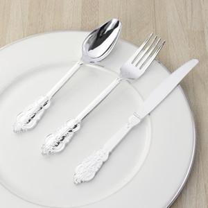 6 pçs / 2 conjuntos retro escultura faca garfo colher talheres de talheres descartáveis para o piquenique da festa do assado (prata)
