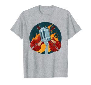 Microphone Guitar Flames | Music Band Concert T-Shirt