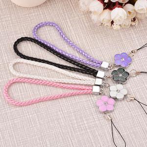 braided lanyard cartoon short Mobile phone U disk pendant five leaf flower key Apple 6S Bracelet