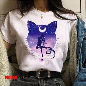 Sailor Moon Kawaii Women's T Shirt Cartoon Female Tops Ulzzang Harajuku T-shirt 90s Korean Style T shirt Graphic Tee Top for Kid C0220