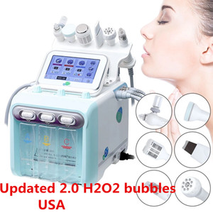 Updated 2.0 H2O2 small bubble oxygen beauty salon 6in1 skin cleanser hydrogen oxygen jet peeling machine USA warehouse