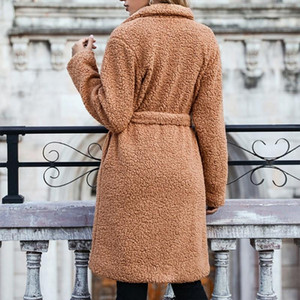 Women Winter Fuzzy Plush Long Sleeve Coat Notched Lapel Collar Belted Loose Jacket Thicken Warm Parka Overcoat Outerwear
