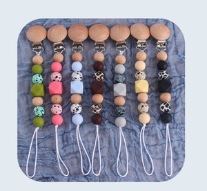 DIY Leopard Silicone Baby Pacifier Clips Chain Natural Wooden Baby Teether Teething Beads Newborn Teeth Practice Toys Infant Feeding B4113