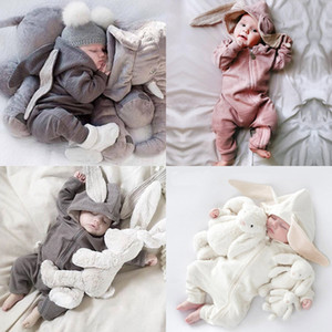 Toddler Baby Rompers Newborn Infant Rabbit Ears Bunny Hat Jumpsuit Romper Spring Knitted Zipper One Piece Pants Onesies H23ENAV