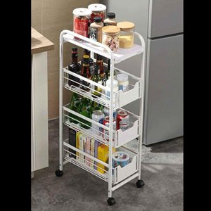 Blanco / Negro 4 niveles Cocina Almacenamiento Rack Bebidas Condiment Holder Organizador Metal Rolling Utility Cart Car Trolley Storage Shelf