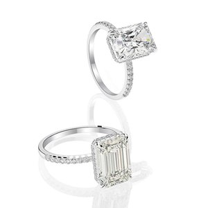HBP fashion luxury new 18K White Gold rectangular round pointed bottom cutting high carbon diamond explosion Flash Wedding Ring * 11 Che Hua