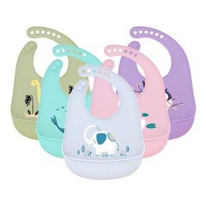 무료 DHL INS 50+ 스타일 아기 턱받이 조정 가능한 동물 그림 방수 떨어지는 턱받이 부드러운 식용 실리콘 타액 수건
