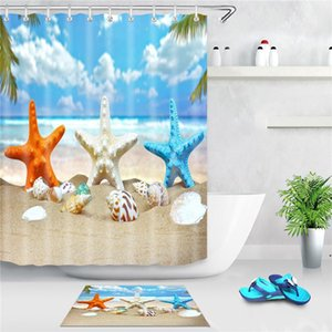 Sea Beach Shower Curtain Starfish Shell Printed Bath Screen Polyester Waterproof Shower Curtains Decor With Hooks AHE4833