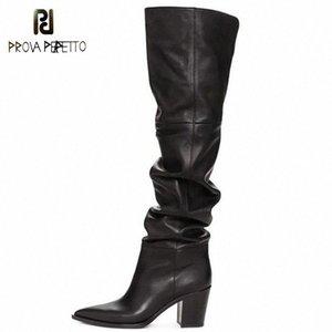 Prova Perfetto Black Over the Knee Boots Pointed Toe Chunky Tacchi Scarpe Zipper Morbido Ginocchio Alto Stivali Donne Botines Mujer 2019 35Ah #