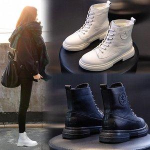 Yiluan Leatherl Motosiklet Botları Bayan Kış 2020 Yeni Platformu Rahat Botlar Beyaz Öğrenciler Lace Up Boot Kadın Sıcak G4PA #