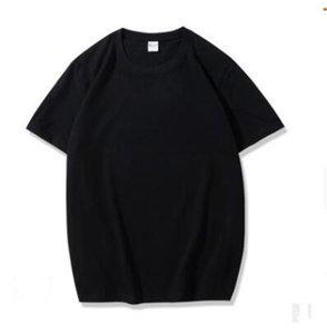 2021 yaz erkek bir düz renk siyah kısa kollu t-shirt yuvarlak boyun pamuklu gömlek düz gevşek