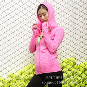 Spring hooded women's sports jacket fitness fast dry running training yoga clothes moisture wicking zipper hat