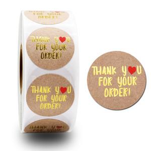 500pcs Grazie per aver sostenuto il mio business Kraft Sticker con etichette rotonde Dreee Candy Regalo Box Cake Box e carta da imballaggio