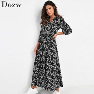 Старинные цветочные принты Maxi платье женщин Boho три четверти рукава длинные поясницы платье поворотный воротник повседневные платья рубашки халат 210309