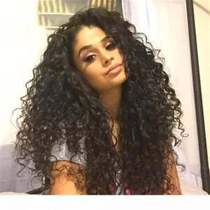 Kinky curly Full Lace Wigs With Hairline Deep Wave Glueless Brazilian Virgin Human Hair Lace Front Wigs With Bleached knots