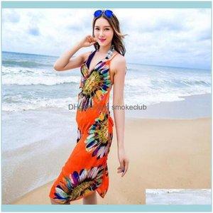 Er-Ups Equipment Water Sports & Outdoors Women Floral Er Ups Print Sexy Pareo Dress Bohemian Sarong Chiffon Beach Bikini Wrap Swimwear Scarf