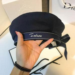 Cosmicchic 2020 осень женщина шляпа мода ленты лук beeret письмо вышивка зимние шляпы винтаж мужской берет французская шляпа во флот