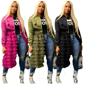Women Mesh Lace Splice Coats Long Sleeve Zipper Frill Tulle Tutu Long Jacket Casual Women Outerwear Autumn Fashion