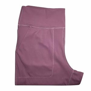 L-26 Pantalones de cintura alta para mujer Deportes Pantalones de yoga deportes Fitness Running Leggings Color sólido Casual Pantalones largos