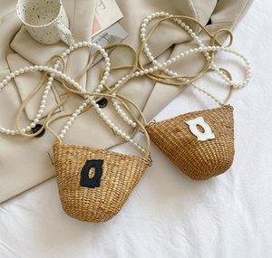 Luxury Children grass weaving handbag kids pearl chain one-shoulder bags summer girls princess beach bag A7143