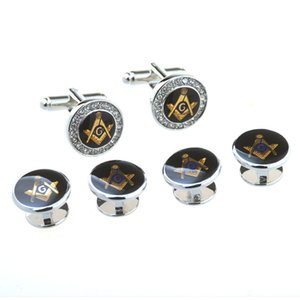 Hot sale jewelry set men's gold silver round masonic cufflinks compass square freemason mason button with crystal stones