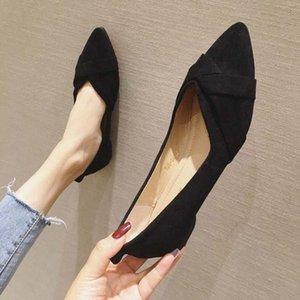 أشار الأحذية المسطحة النساء 2020 الربيع والصيف جديد من جلد الغزال الأحذية المهنية العمل حجم كبير الفم الضحلة العمل الأسود الأرجواني SCH 13NW #