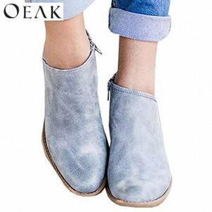Botas de las mujeres Botas de tobillo Niza Otoño Femenino Zapatos casuales Mujer Plata de moda plana Redonda Toe Toe Strap Sólido Cómodo H96M #
