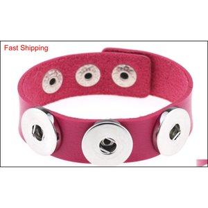 New Snap Button Bracelet&bangles 14 Color High Quality Pu Leather Bracelets For Women 18mm qylUeB mj_fashion