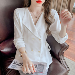 2021 spring new foreign style design feeling bandage waist closed suit collar blouse versatile Long Sleeve Chiffon shirt