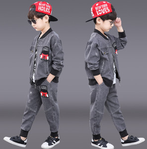 Çocuklar Denim Kıyafetler 2021 Yeni Erkek Fermuar Uzun Kollu Denim Ceket + Uzun Kollu T-Shirt + Rahat Kot 3 adet Çocuk Kovboy Setleri A4089
