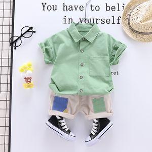 2021 New Summer Newborn Solid Shirt- Shorts Suit Boy Clothes Baby Sweat Coat 0gta