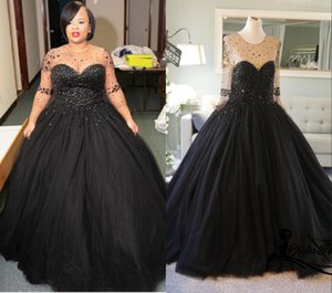 Sexy Black Plus size Wedding Dresses Bridal Gown 2021 Sheer Jewel Neck with Illusion Sleeves Crystal and Rhinestones Top Tulle A line Cheap