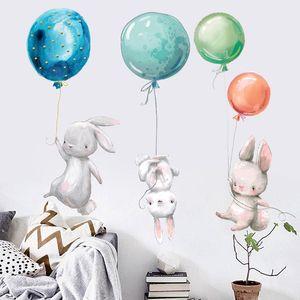 Tavşan Duvar Çıkartmaları Çocuk Odası Paskalya Duvar Sticker Dekorasyon Balon Bunny Çocuk Kız Kreş Duvar Çıkartması DHB4832