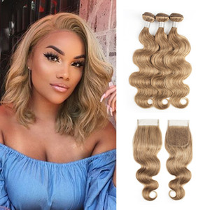 #8 Ash Blonde Human Hair Weave Bundles With Closure Brazilian Virgin Hair 3 4 Bundles With 4x4 Lace Closure Remy Human Hair Extensions