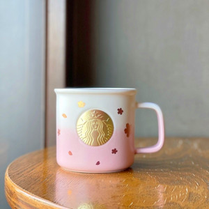 2021 summer new Starbucks sakura flying bronze mug 355ML pink cherry blossom golden mermaid bronze coffee cup