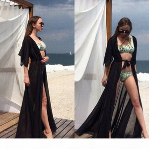 Summer Sexy Beach Long Dress Women Red Robe Bikini Cover Up Tunic Kaftan Chiffon See-through Swimsuit Long Beachwear