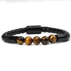 2021 new fashion charm men's leather bracelet lava stone tiger eye stone turquoise bead black stainless steel magnet buckle brac