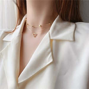 Double Layer Heart Pendant Necklace Choker Shining Bling Zircon Women Clavicle Chain Elegant Charm Wedding Gift Statement Necklaces Jewelry