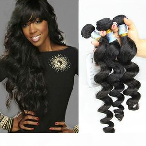 7A Unprocessed Brazilian Hair Weave Peruvian Malaysian Indian Remy Virgin Hair Extensions Natural Color Loose Wave Human Hair Free Shipping