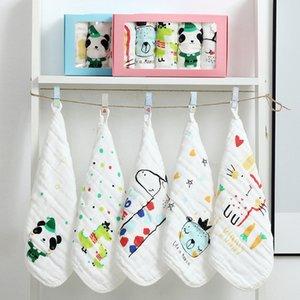 Gaas gaas seis camadas bebê rosto lavagem toalha quadrado lenço bom desenho animado impressão para bebê recém-nascido