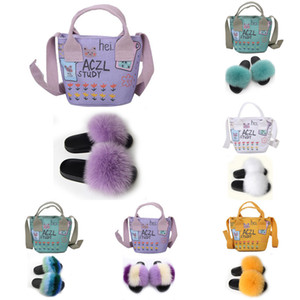 Women Shoes Extra Fluffy Snug Slippers And Handbags Furry Comfortable Sandals And Bags Real Fox Fur Slides With Jelly Purse Sets