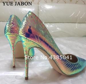 Yue Jabon Coloré 12cm / 10cm / 8cm Snake pointu oie Partie Sexy Chaussures Femme Grande taille 43 Femmes Chaussures High Heel Chaussures de mariage Pumps